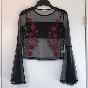 Embroidered Mesh Bell Sleeve Top
